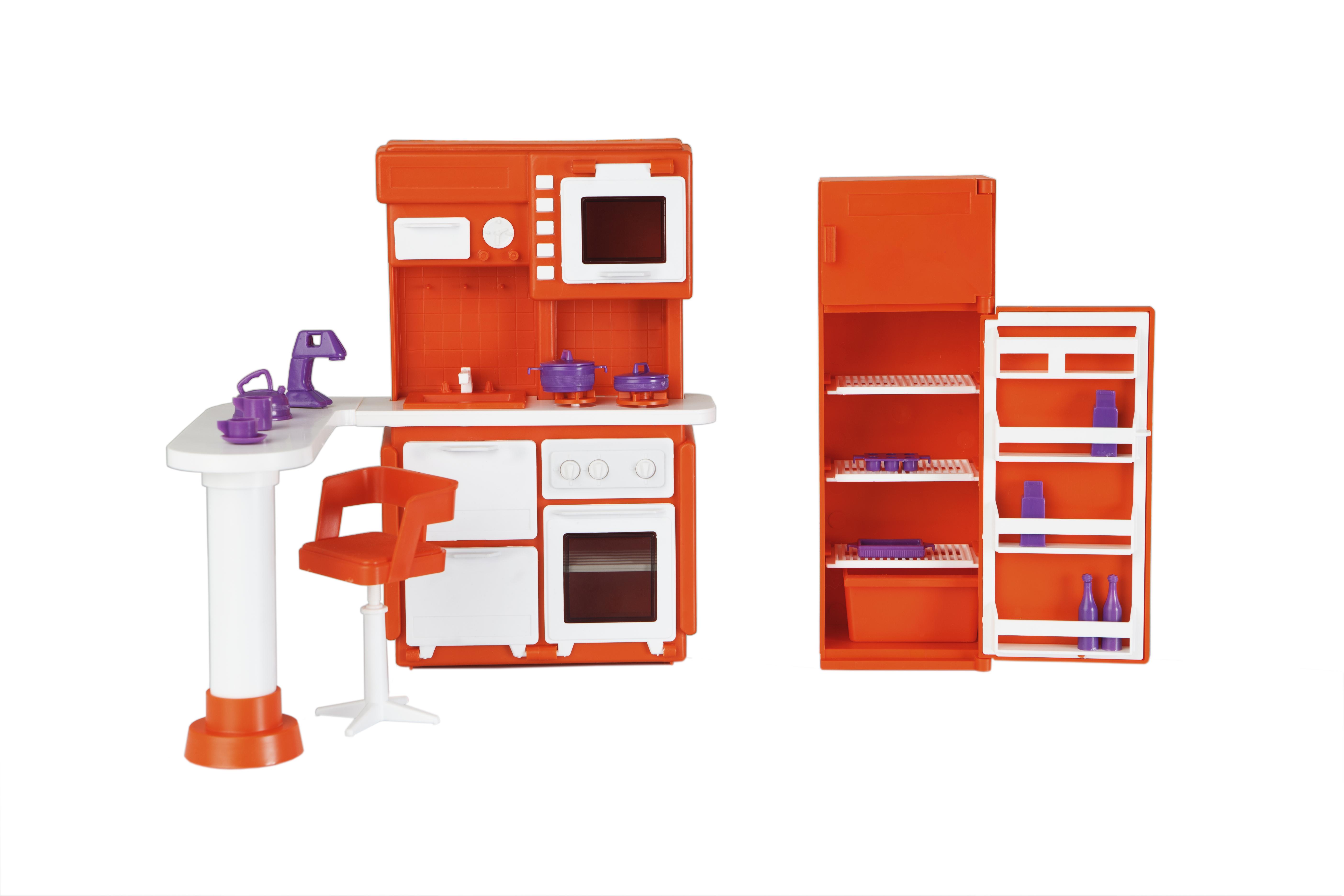 Кукольная мебель для кукольного домика кухня конфетти огонек.